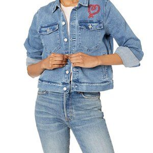 Women's short Embroidered Denim Jacket